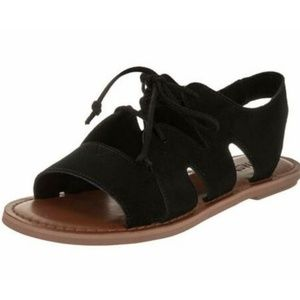 Toms Womens Gladiator Sandals Calipso Black Suede